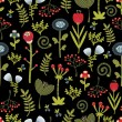 Floral seamless pattern with cartoon flowers. — Vektorgrafik