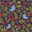 Vector de stock : Colorful seamless pattern with birds and flowers.
