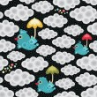 Seamless pattern with bird and umbrella. — Imagen vectorial