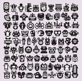 Big set of icons with monsters and robots faces #3. — Stock Vector