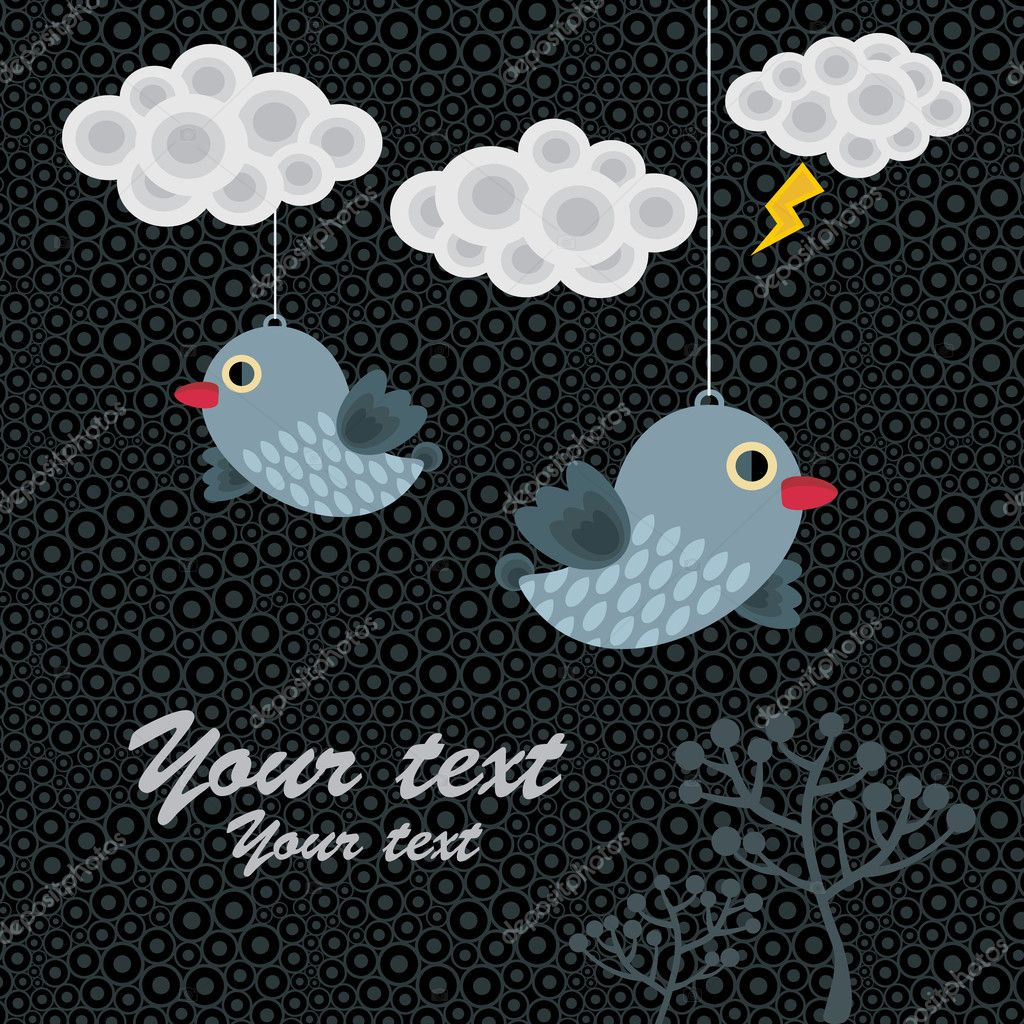 Abstract background with birds in clouds. Vector illustration.  Stock Vector #6018863
