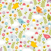 Cute seamless pattern with birds,flowers and mushrooms. — Stock Vector