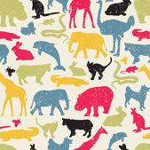 动物剪影复古风格无缝模式. — 图库矢量图片