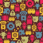 Cute robot and monsters modern seamless pattern in retro style. — Stock Vector