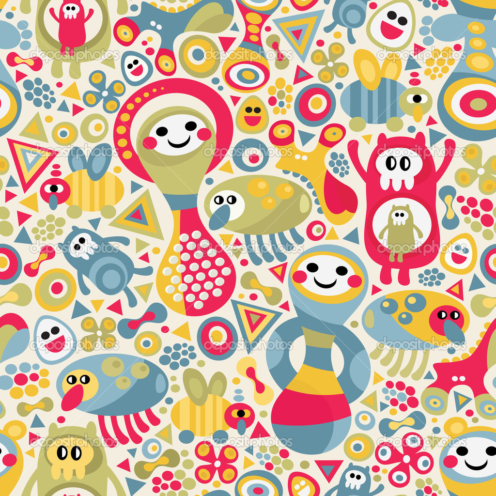Cute monsters seamless texture. Vector colorful pattern for you background. — Stock Vector #6301917