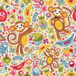 Royalty-Free Stock Imagen vectorial: Cute monsters and animals seamless texture.