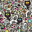 Cute monsters cats seamless pattern. — Vector de stock  #6396571