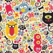 Cute monsters seamless pattern. — Vector de stock  #6396576