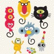 Set of cute and funny monsters. — Stock Vector