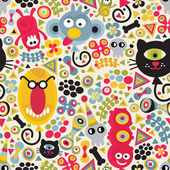 Cute monsters seamless pattern. — Stock Vector