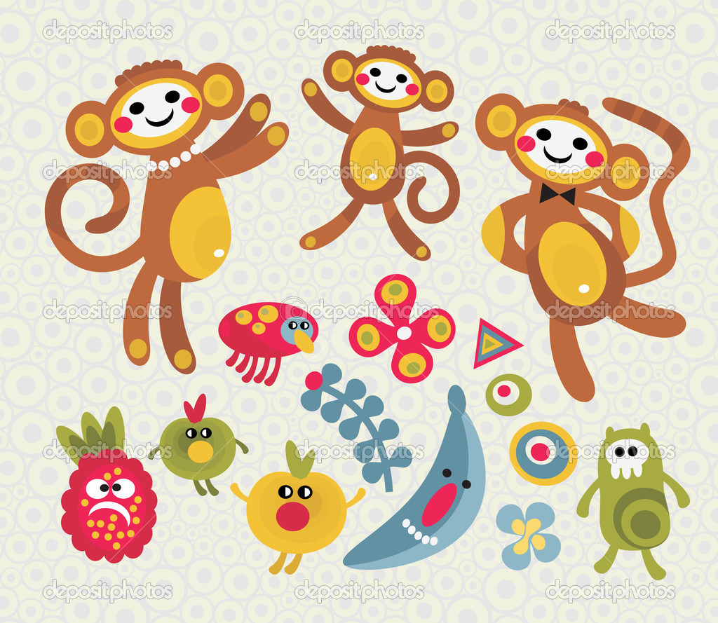 Set of cute and funny monsters and animals. Vector illustration. — Stock Vector #6396520