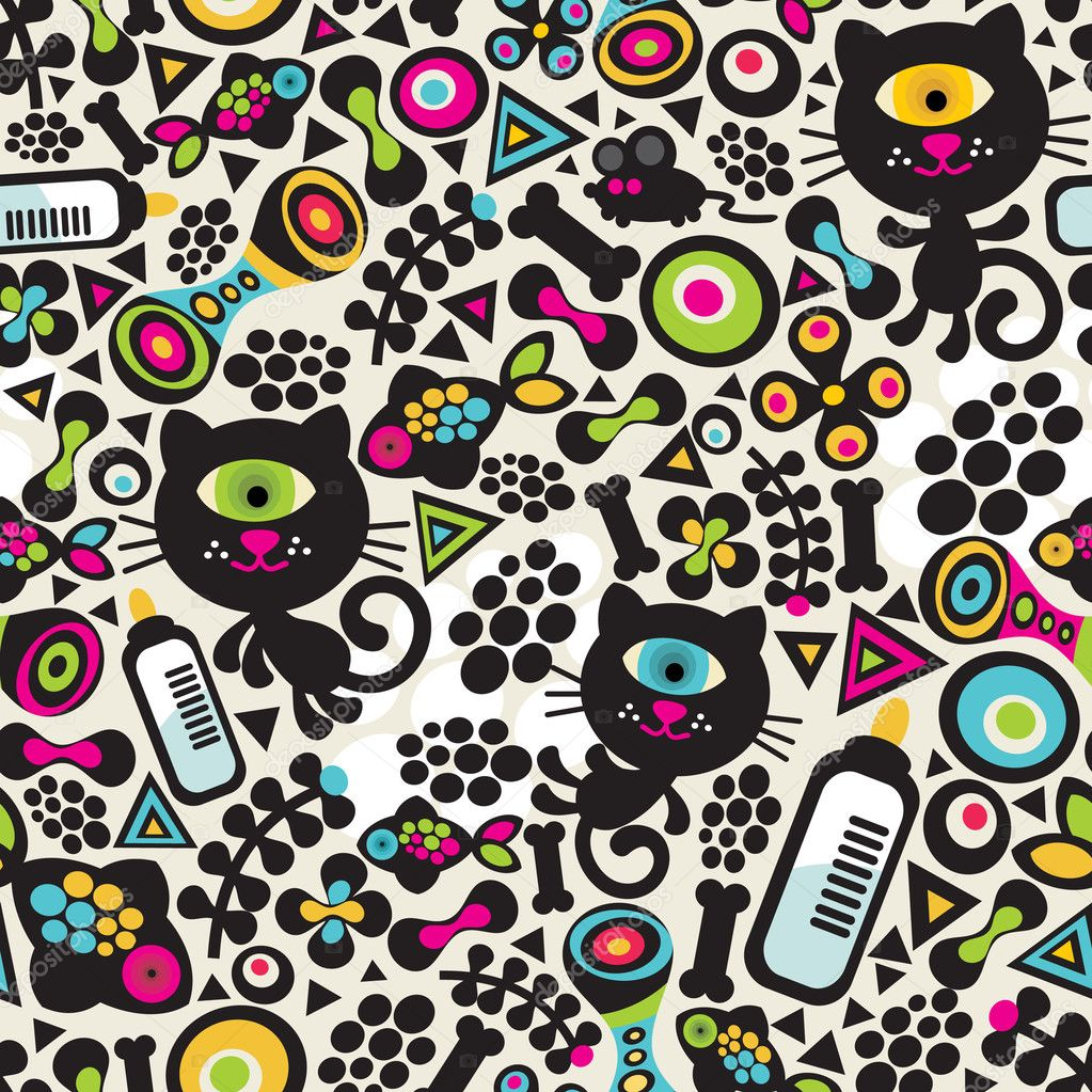 Cute monsters cats seamless pattern. Vector colorful texture for you background.  Stock Vector #6396571