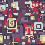 Robot seamless pattern in cartoon style. — Stock Vector