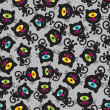 Cute monsters cats seamless pattern. - Stockvektor