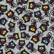 Cute monsters cats seamless pattern. — Stock Vector
