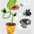 Cute plant monsters and insects. - Imagens vectoriais em stock