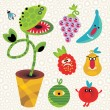 Royalty-Free Stock Vector Image: Set of cute plant monsters.
