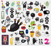 Big set of different cute monsters. — Stock Vector