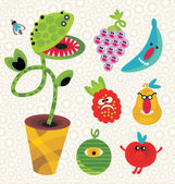 Set of cute plant monsters. — Stock Vector