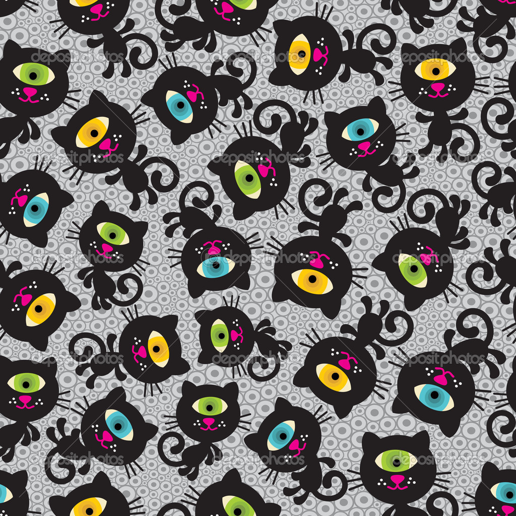 Cute monsters cats seamless pattern. Vector colorful texture with cyclops for you background. — Stock Vector #6430124