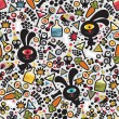 Cute monsters rabbit seamless pattern. - Stockvectorbeeld