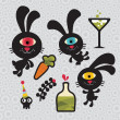 Set of cute and funny monsters rabbits. — Stock Vector