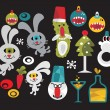 Set of cute and funny monsters for Christmas. - Stock Vector