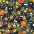 Seamless Halloween background with monsters. - Stock Vector