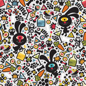 Cute monsters rabbit seamless pattern. — Stock Vector