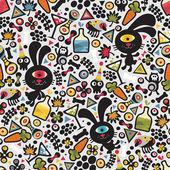 Cute monsters rabbit seamless pattern. — Stock Vector