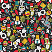 Seamless Christmas pattern with monsters. — Stock Vector
