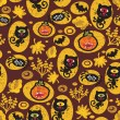 Seamless Halloween texture with black cat. — Stock Vector