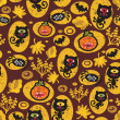 Royalty-Free Stock  : Seamless Halloween texture with black cat.