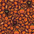 Royalty-Free Stock Vector Image: Seamless Halloween texture with black cat.