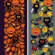 Two seamless vertical patterns with black cat. — Stock Vector