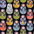Royalty-Free Stock Vector Image: Matreshka russian doll seamless pattern.