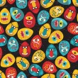 Crazy eggs monsters seamless pattern in retro style. — Stock Vector