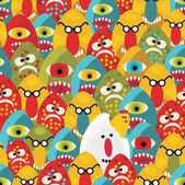 Crazy eggs monsters seamless pattern. — Stock Vector