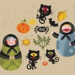 Halloween icons with matreshka and cats. — Stock Vector