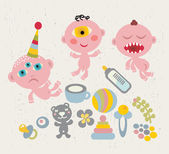 Baby - monsters. — Stock Vector