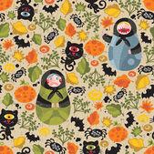 Modèle sans couture avec matreshka et chats noirs. — Vecteur