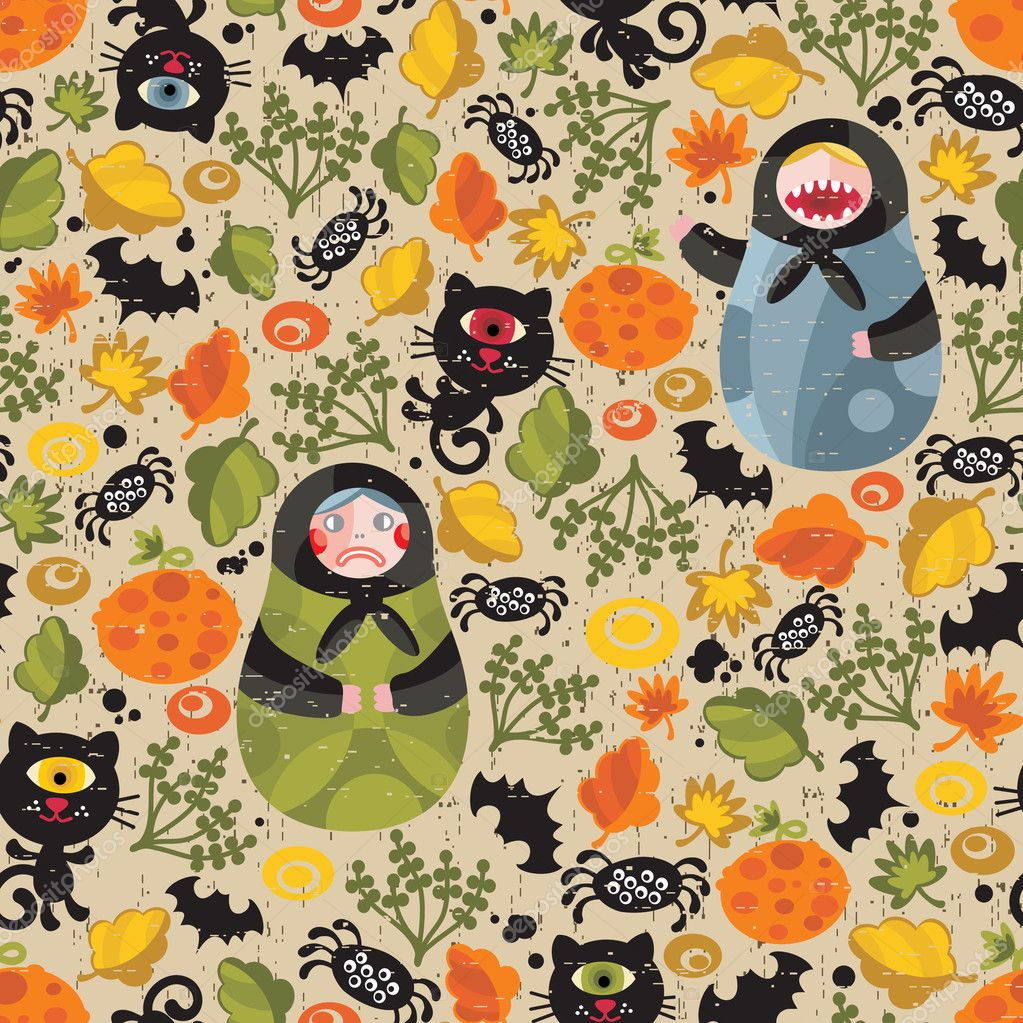 Seamless pattern with matreshka and black cats. Vector texture for Halloween. — Stock Vector #6731809