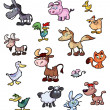 Collection of fun cartoon animals - Stock Vector