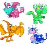 Collection of cute cartoon baby dino — Stock Vector