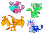 Collection of cute cartoon baby dino — Stock Vector