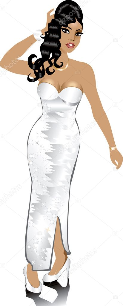 Vector White Wedding Gown, can be used for Weddings, Beauty Pageants, Parties, Christmas, Valentines Day, Prom or more. — Stock Vector #5527082