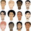 Stock Vector: Men Faces 4