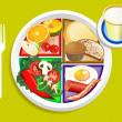 Food My Plate Breakfast Portions — Stock Vector