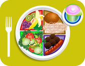 Food My Plate Lunch Portions — Stock Vector