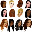 Stock Vector: Mixed Biracial Women Faces